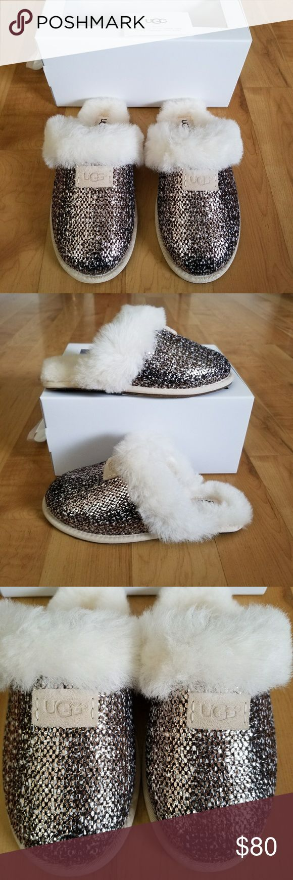 UGG Slippers NEW UGG Scuffette II Frill Slippers  Size 6 in Women.  Metallic tweed and sheepskin collar.  Bronze color. Sheepskin insole and footbed.  Rubber outsole for outdoor and indoor wear.  They have the hologram as shown in the picture to prove authenticity.  Feel free to ask any questions (#491-2) NO TRADES  I'm open to reasonable offers. 🌷 UGG Shoes Slippers