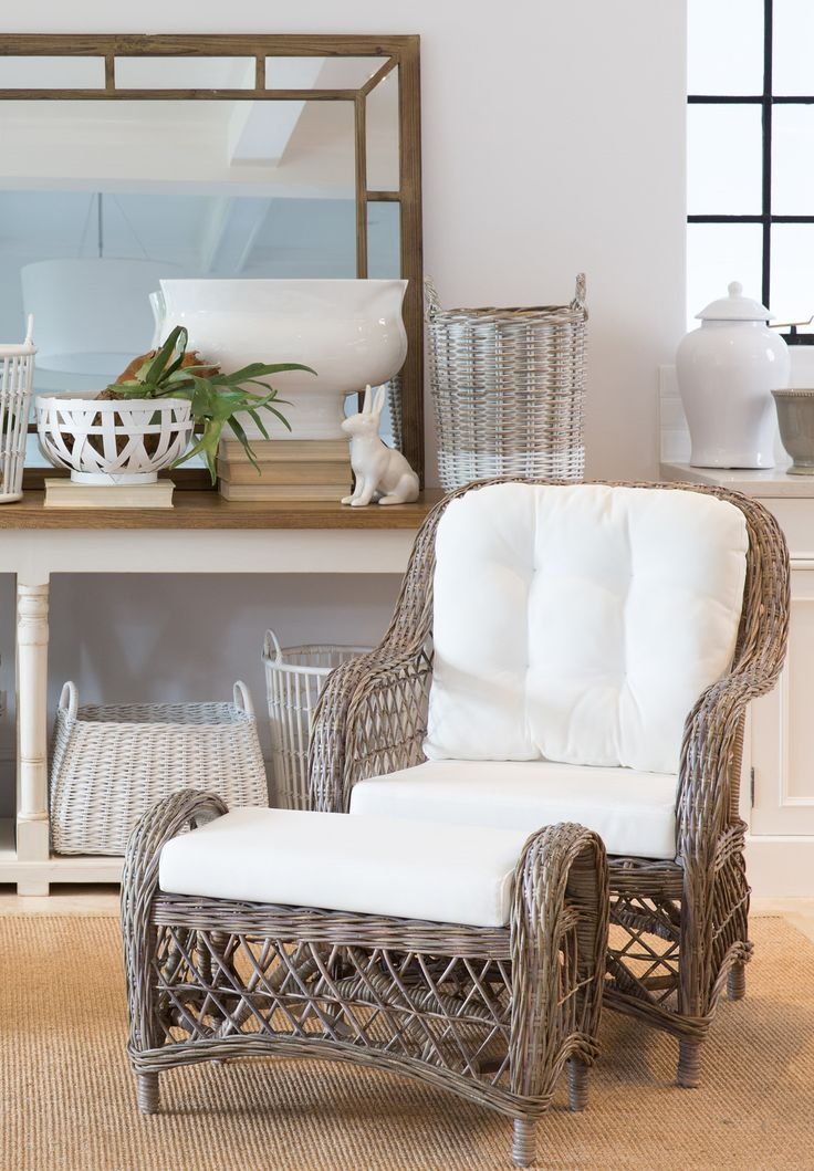 The Tori Rattan Armchair With Matching Footstool.