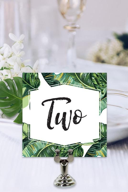 tropical wedding table number table number template table number