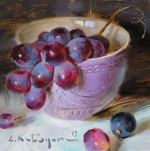 "Daily+Paintworks+-+""Grapes+in+Lavender+Bowl""+-+Original+Fine+Art+for+Sale+-+©+Elena+Katsyura"