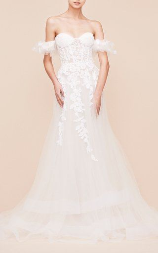 Off The Shoulder Embroidered Gown by Georges Hobeika