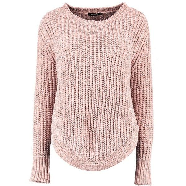 Boohoo Alexandra Curved Hem Chenille Jumper ($35) ❤ liked on Polyvore featuring tops, sweaters, sequin top, chunky sweater, party jumpers, turtleneck sweater and nordic sweater