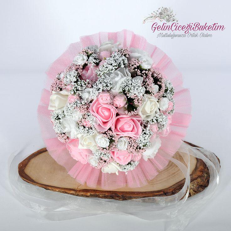 Beyaz Pembe Güller Gelin Çiçeği Buketi Gelin Tacı Damat Yaka Çiçeği (3'lü Set)