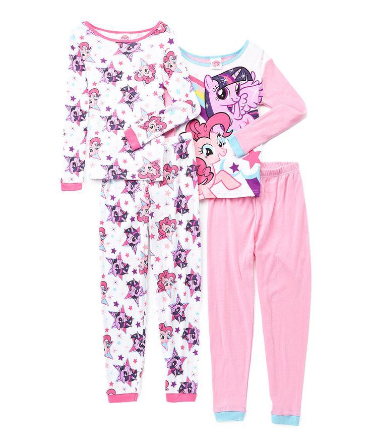 Look what I found on #zulily! My Little Pony Pink Four-Piece Pajama Set - Girls by My Little Pony #zulilyfinds