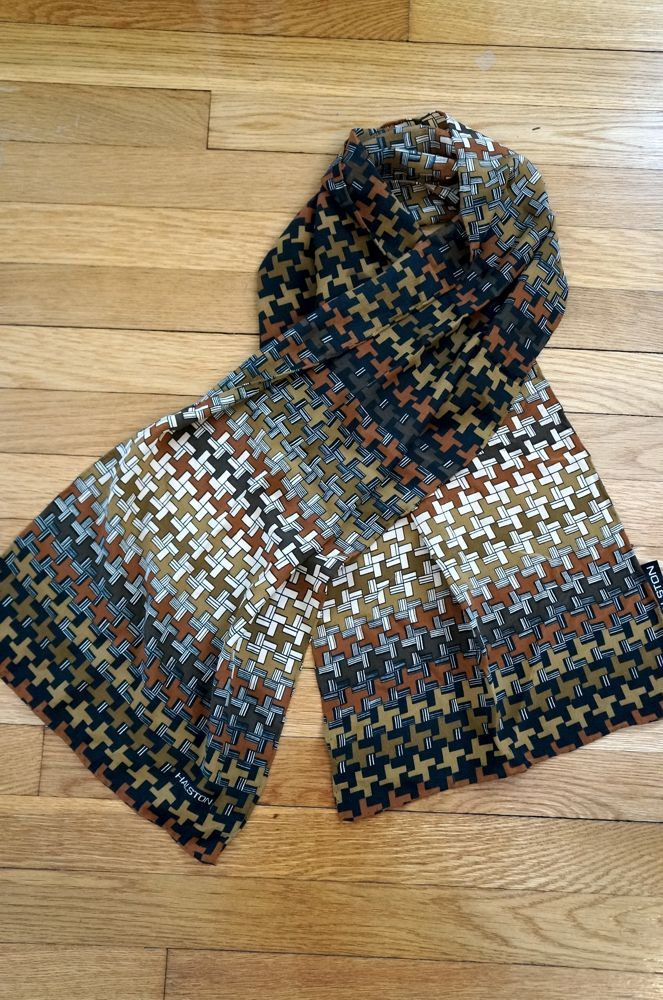 Vintage Halston Scarf Silk Scarves Rectangular 1970s Seventies 70s Graphic Geometric Browns Black Cream Scarves and Wraps Accessories by aesthetikara on Etsy