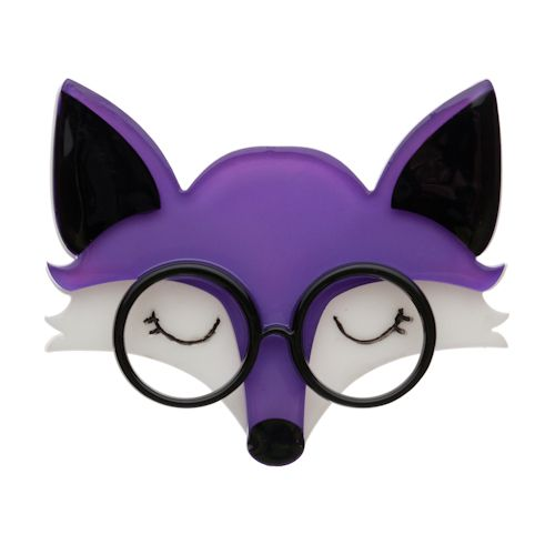 "Limited Edition Emry the Asleep Fox Brooch in purple. ""Sweet dreams Emry."""