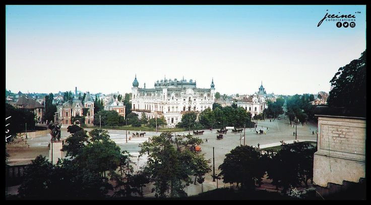 A brilliantly colorized photo of Victoriei Square and the Sturdza Palace, located in Bucharest, Romania. 1930. Designed by architect Julius Reinicke, who was commissioned by mid 19th century General & aristocrat Grigore Sturdza, the palace saw its completion in 1901. Sadly, the palace was damaged beyond repair after a serious fire broke out in 1942, then struck by bombs in 1944. It was completely demolished in 1946 & replaced with Victoriei Palace, which currently houses the Romanian…