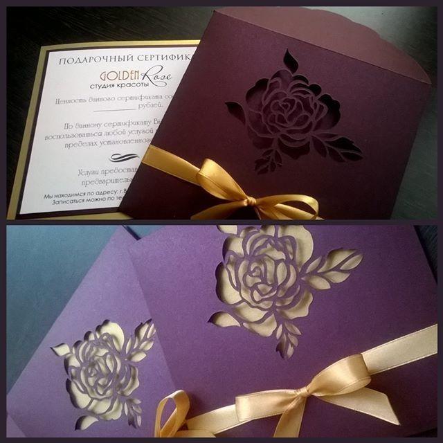 regram @dyukova_lisa Вот такая красота получилась для студии Golgen rose  regram @m_invitation Элегантный....Роскошный ...и очень стильный дизайн сертификата от нашей Мастерской. Конверт с прорезным цветком розы выполнен в фиолетово-винном цвете. Этот цвет прекрасно сочетается с золотым. Мастерская приглашений http://ift.tt/1mthGUd  #мастерская_приглашений #свадьба #врн #воронеж #приглашения #полиграфия #пригласительные #приглашениенасвадьбу #свадебныеприглашения #свадьбаворонеж #asessories…