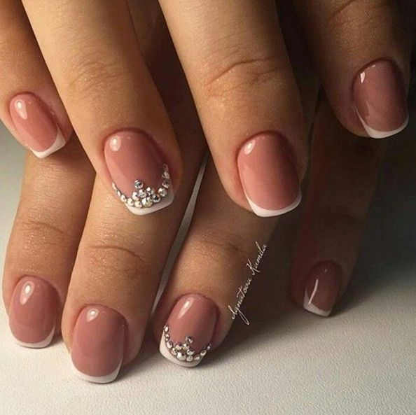 wedding nail art short french rhinestones
