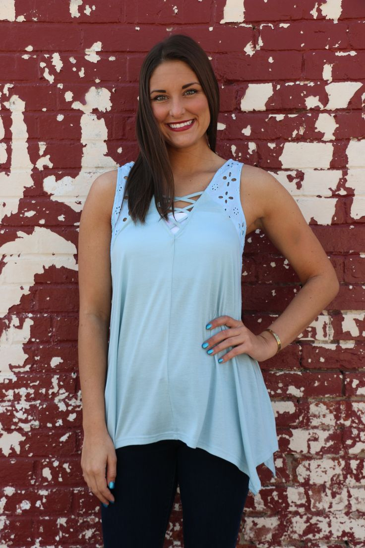 Baby blue strappy top