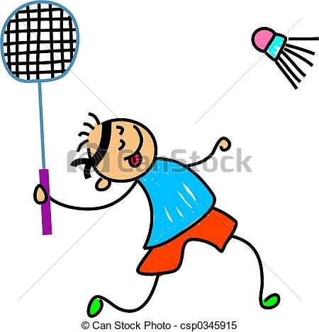 badminton kid Stock Illustration - stock illustration, royalty free illustrations, stock clip art icon, stock clipart icons, logo, line art, pictures, graphic, graphics, drawing, drawings, artwork