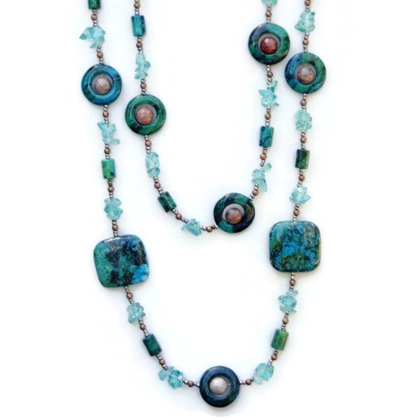 Double Strand Teal Stone Necklace, Chrysocolla Apatite, Chunky Bold... ($80) ❤ liked on Polyvore featuring jewelry, necklaces, teal jewelry, chunky necklaces, chunk jewelry, bib statement necklace and chunky stone necklace