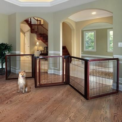 - The Eco-Conscious Convertible Pet Gate can span wide areas to keep your dog confined on the other side of wide spaces. A freestanding pet gate is ideal because it can set up and be taken down easily