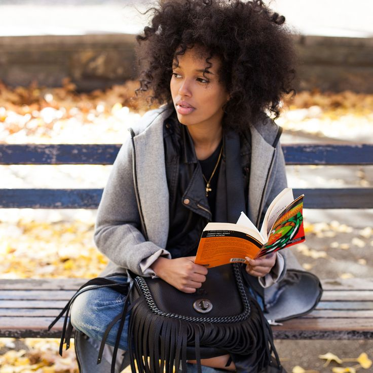 "All Your Weekend Style Questions, Solved #refinery29  http://www.refinery29.com/best-brooklyn-weekend-brunch-plans#slide10  It's all about the winter accessories. What other on-the-go essentials can you not live without for an afternoon outdoors? ""I'll carry a crossbody, in which I bring a good book — I recommend Things Fall Apart by Chinua Achebe. And, if I know I'll be out a while, I'll throw in an eyebrow pencil, Estée Lauder concealer, and a Mac bronzer, so I can do a quick touch-up ..."