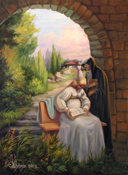 Darwin painting hung in the cabin in Mud Vein by Tarryn Fisher. Painting by Oleg Shuplyak - Darwin (Science and Religion)