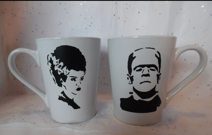 Frankenstein And His Bride Coffee Mug Set, His And Her Mugs, Couples Coffee Mugs by SiplySophisticated on Etsy