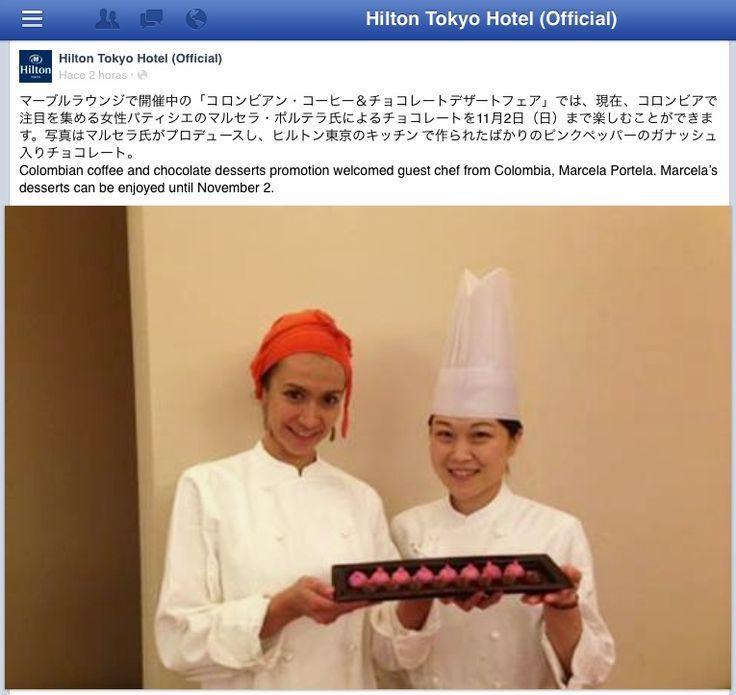 Desde esta semana y hasta el 2 de noviembre, Marcela estará preparando sus recetas en el Hotel Hilton de Tokyo con motivo del Festival del Cacao colombiano. ¡Qué orgullo y qué felicidad para Lachoco!!