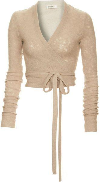 L'Agence Beige Ballerina Wrap Sweater.    Wool blend long sleeve wrap sweater.