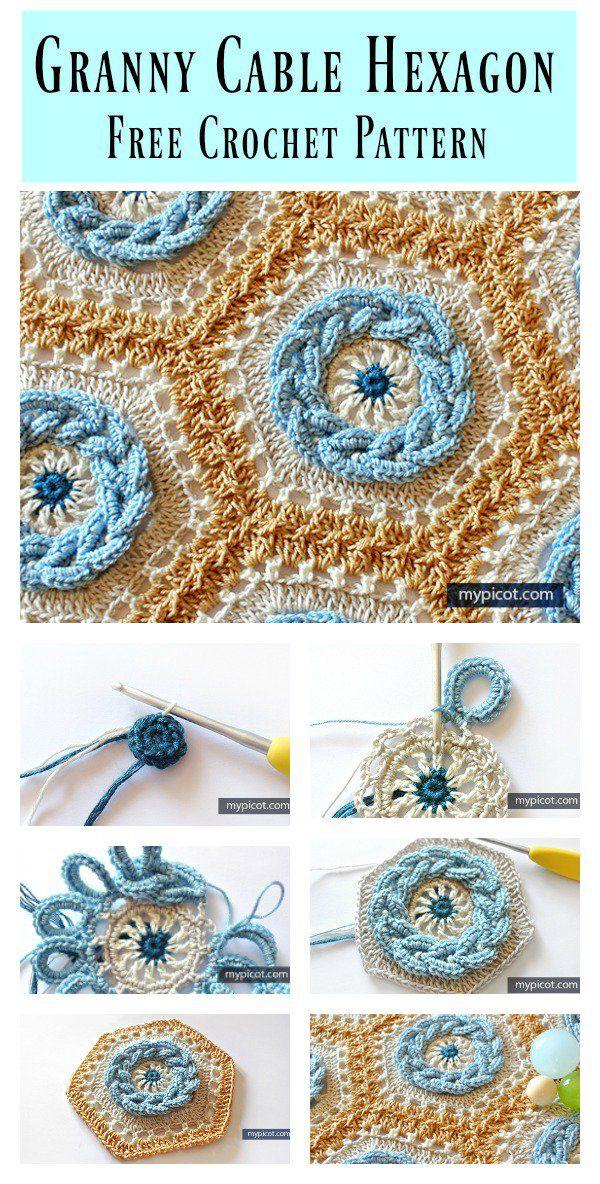 Granny Cable Hexagon Blanket Free Crochet Pattern