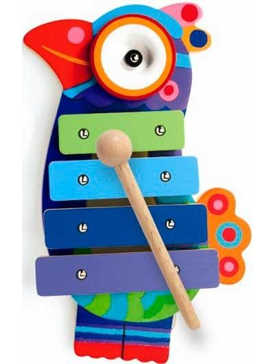 Colourful cymbals in the shape of parrot. Teach your kid how to play the music! #backtoschool