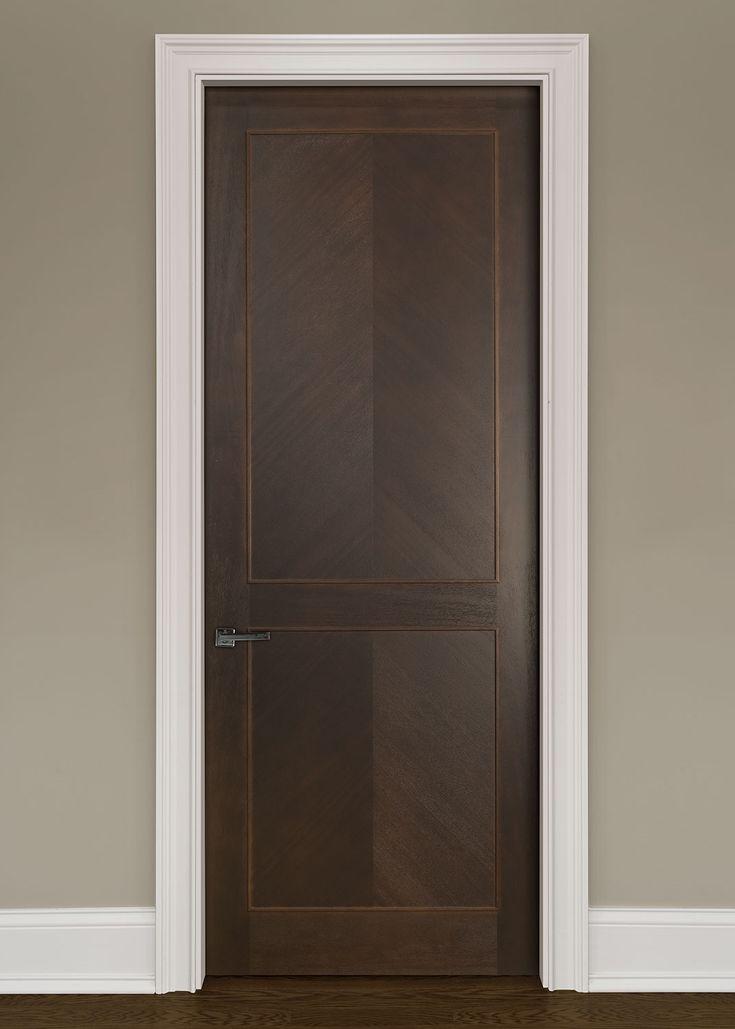 Modern Interior Custom Door Single Solid Core Modern Interior Mahogany Wood  Veneer Door In A Herringbone Pattern With Applied Moulding That Is Pre Hung  And ...