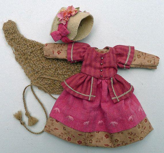 Rose & Beige Civil War Era Outfit for Hitty Dolls by Islecroft