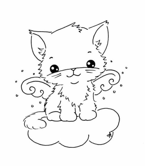 angel kitten coloring pages | 134 best images about Drawing Pattern Template on ...