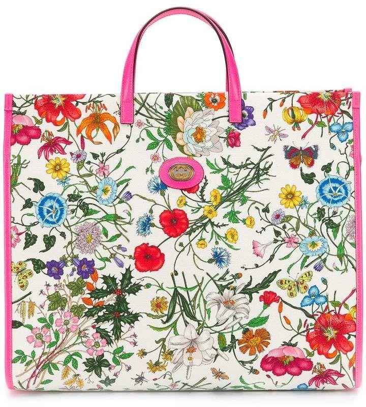 Floral Print Tote Bag Printed Tote Bags Gucci Floral Gucci
