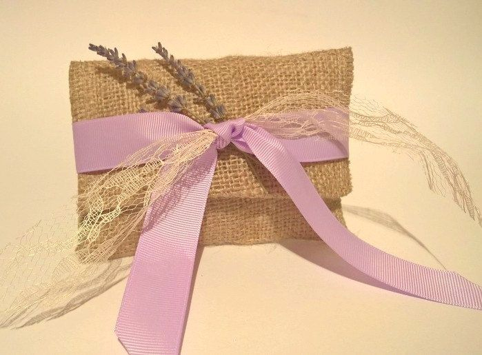 Rustic gift favor bag.Rustic wedding favor bag.Burlap gift favor.Wedding thank you favor bags.Burlap envelope.Bomboniere.Lavender Gift Favor by RaniaCreations on Etsy