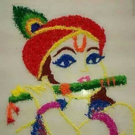Krishna rangoli...easy and beautiful!