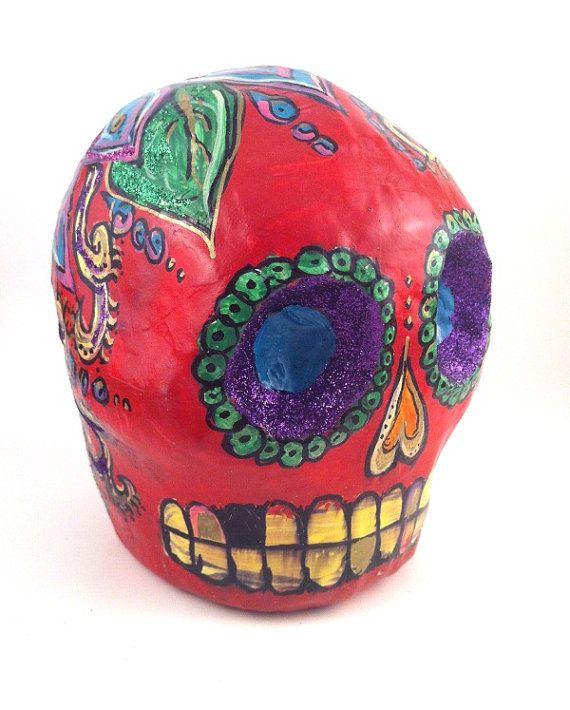 Cráneo Roja Paper Mache Red Skull with Blue by VerdeRojaStudios, $45.00