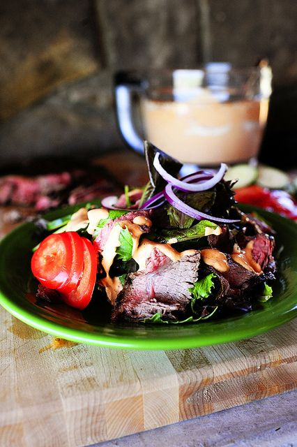 Mmmmmm. One of my favorite salads on earth! Medium-rare flank steak, creamy chipotle dressing...all the good things in life.
