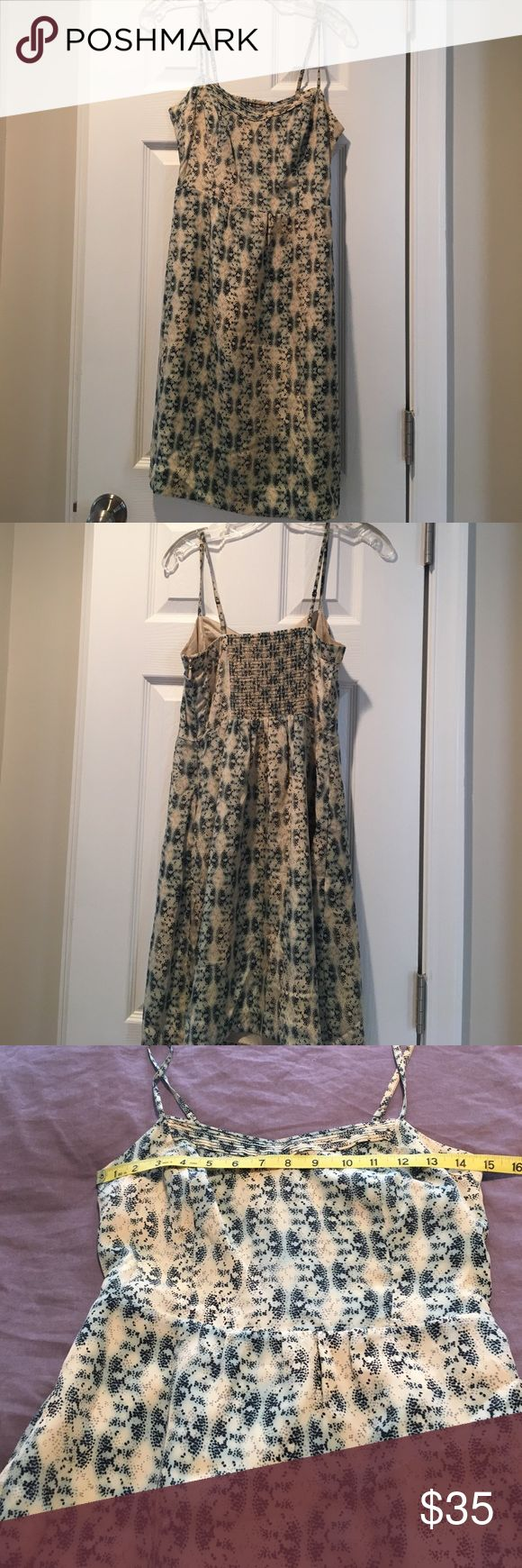Anthropologie Moulinette Soers size 2 silk sheath Beautiful ivory and blue patterned 100% silk fully lined dress. Adjustable spaghetti straps with a hidden side zipper.  Perfect for the office or a wedding.  This can be dressed up or down.  Make me a reasonable offer. Anthropologie Dresses Midi