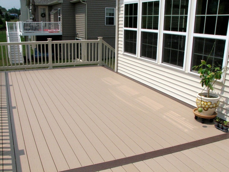 Azek Brownstone Vinyl Deck Flooring Kona Border And