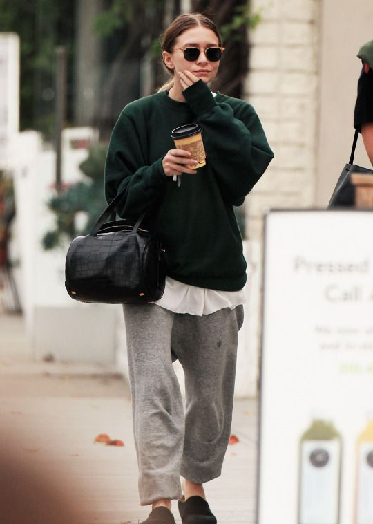 Sweatpants + sunglasses + bag