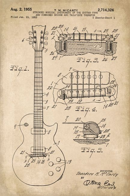 Keep Calm Collection - Gibson Les Paul Guitar Invention Patent Art Poster Print (http://www.keepcalmcollection.com/gibson-les-paul-guitar-invention-patent-art-poster-print/)