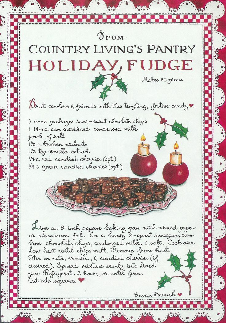 Holiday Fudge - Susan Branch for Country Living Magazine