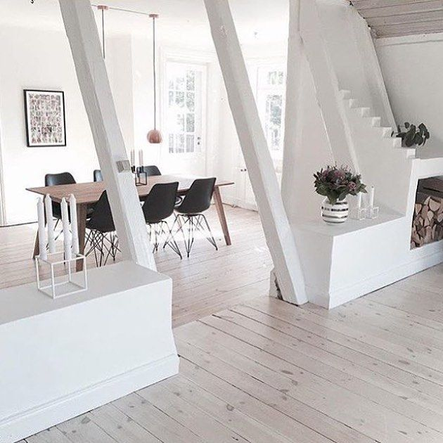 Dining and white floor boards
