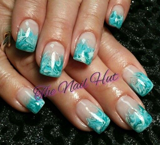 June 2015 - Blue,green & white marbling with a little bit of silver drawn on after