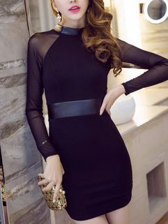 Elegant Fashion Long Sleeve Patchwork Crew Neck Black Party Dresses For Women