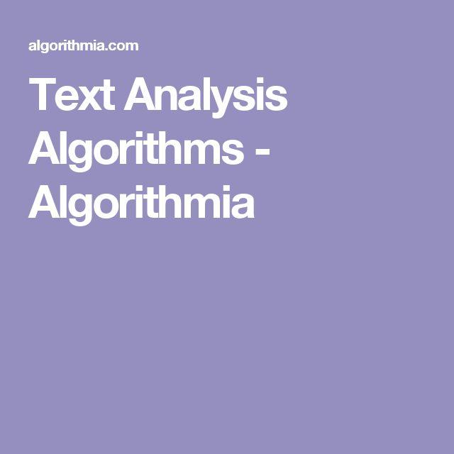 Text Analysis Algorithms - Algorithmia