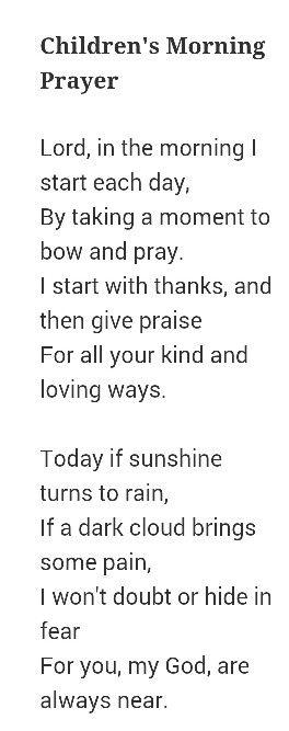 Children's morning prayer