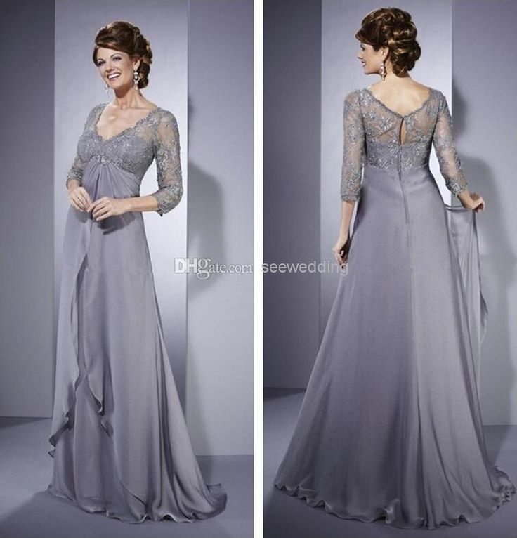 Silver Empire Waist Mother Of The Bride Dresses Vintage V Neck Lace 3/4 Long Sleeve Ruffled Chiffon Long Formal Dresses For Mature Women Von Maur Mother Of The Bride Dresses Wedding Dress For Mother Of The Bride From Seewedding, $118.5| Dhgate.Com
