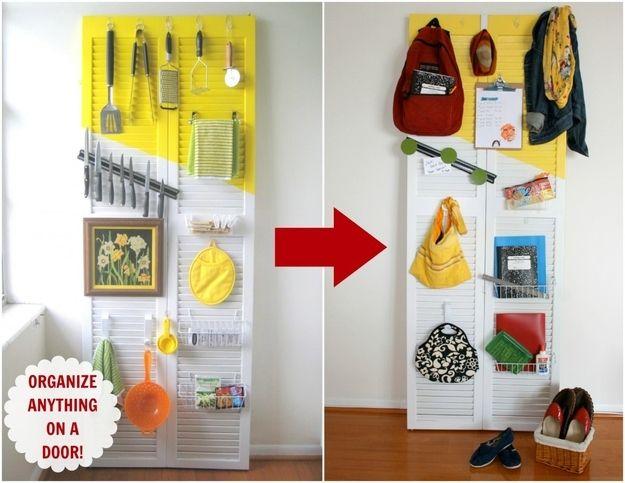 Paravent, porte ou volet à palettes, pratique pour tout ranger. Suspendre outils, accessoires etc... Transform an old shutter door into an organizer.