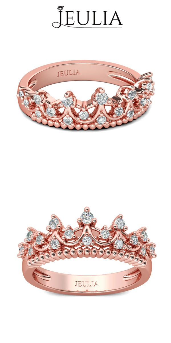 Rose Gold Tiara White Sapphire Rhodium Plated Sterling Silver Engagement Ring #jeulia
