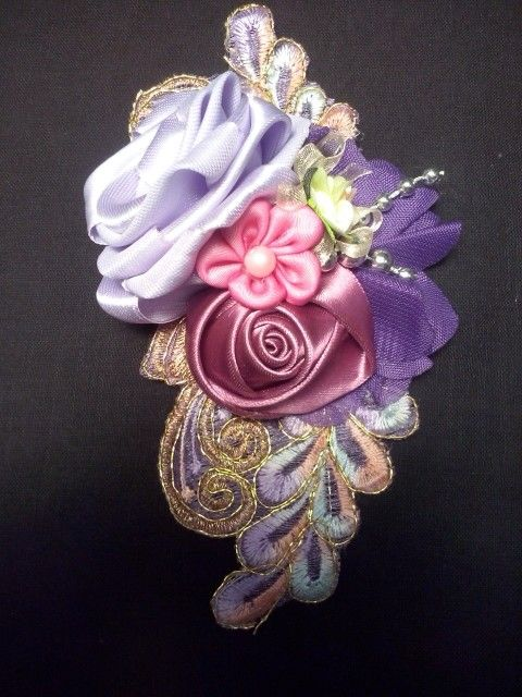 Brooch/head pin corsage purple satin, frill n brocade