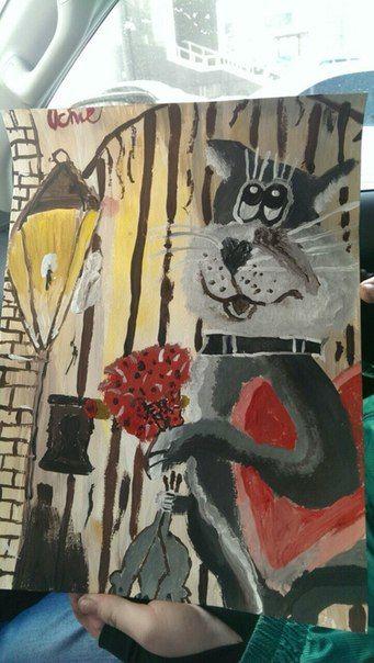 Братишка Димка написал картину к 8 Марта Маме.