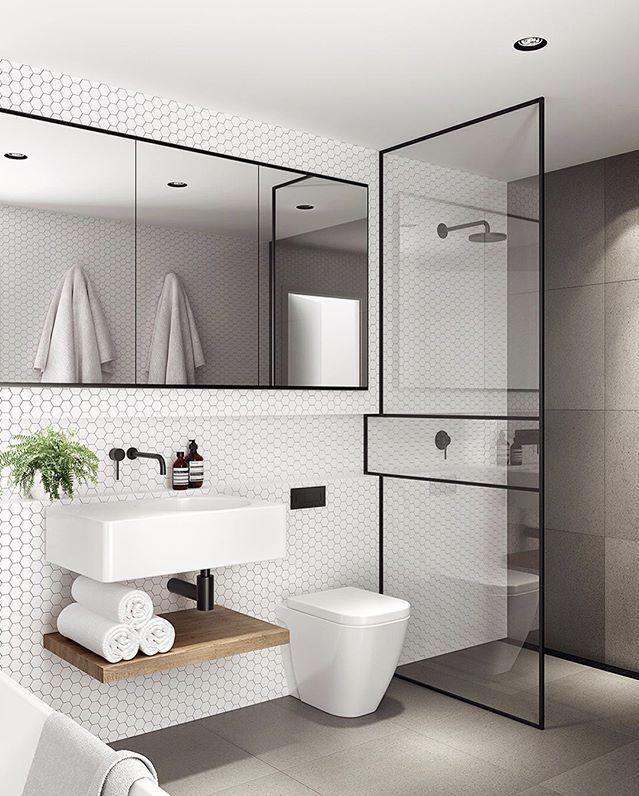 Love this! Black details, white hexagon tiles.