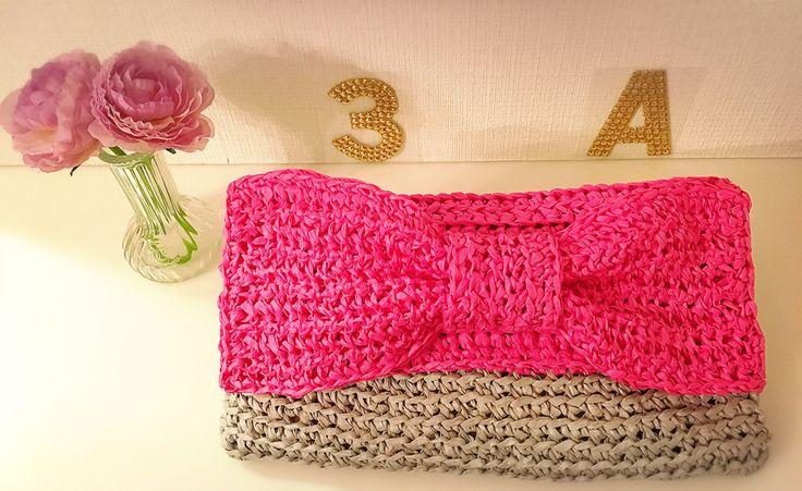 paper yarn pink ribbon clutch bag