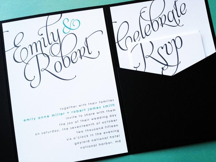 Wedding Invitations - Scripted Signature Pocketfold Wedding Invitation Suites. $148.75, via Etsy.